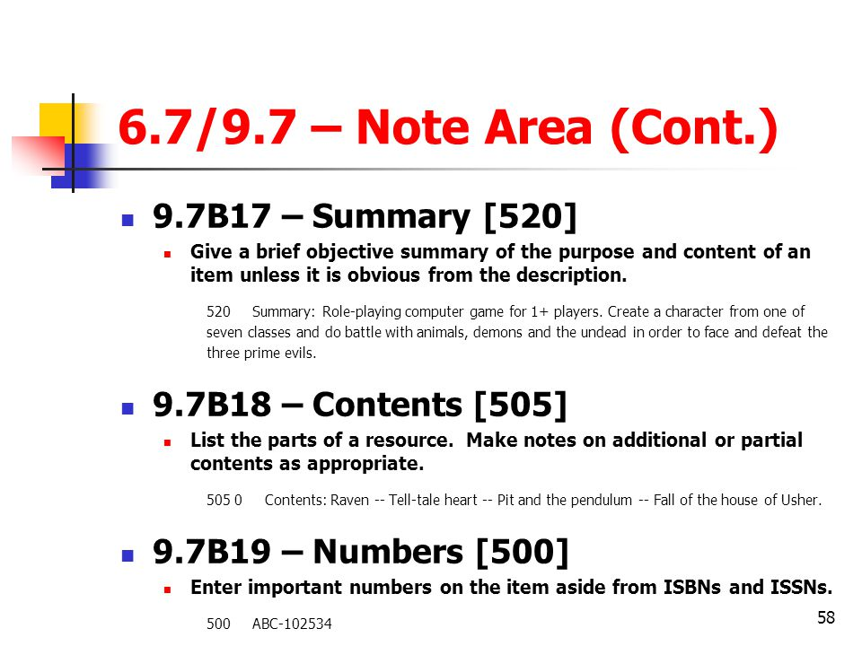 6.7/9.7 – Note Area (Cont.) 9.7B17 – Summary [520]